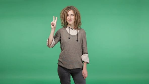 Thumbnail for Beautiful Hipster Woman With Dreadlocks Showing Peace