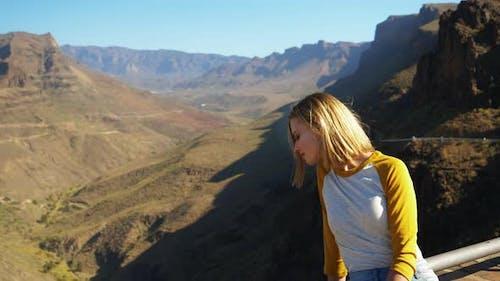 Gorgeous Female Model Admiring the Gran Canaria Landscape