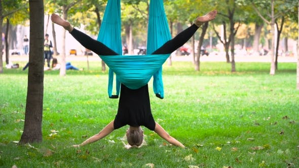 Thumbnail for Girl In a Park Engaged In Aerial Yoga