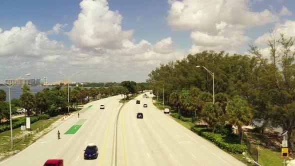 Aerial Drone Crossing A Road 4k