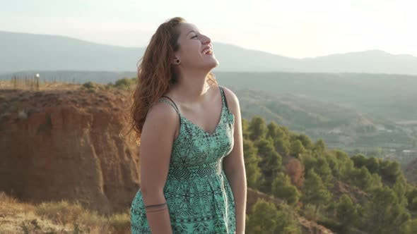 Thumbnail for Woman expression. Happy teen On Mountain Top looking to camera