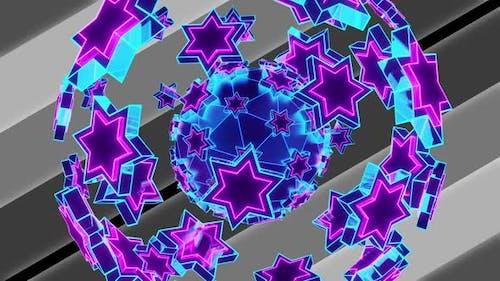 Ein Ball aus sechs spitzen Neonsternen proRes Alpha 4K