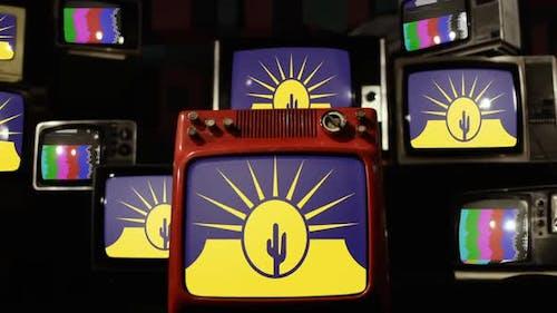 Flag of Mesa, Arizona, on Retro TVs.