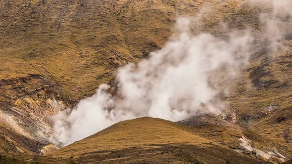 Thumbnail for Hot Volcanic Smoke Clouds from Crater of Volcano Mountains in New Zealand Tongariro Park
