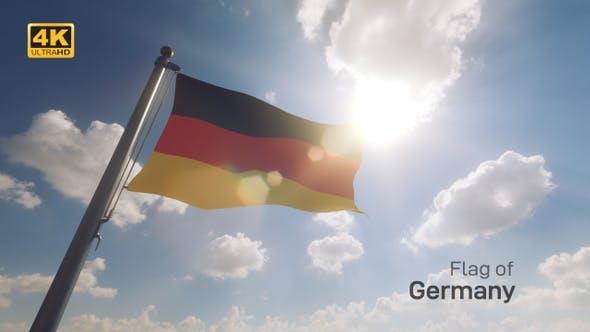 Germany Flag on a Flagpole V2 - 4K
