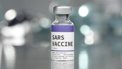 SARS vaccine vial in medical lab