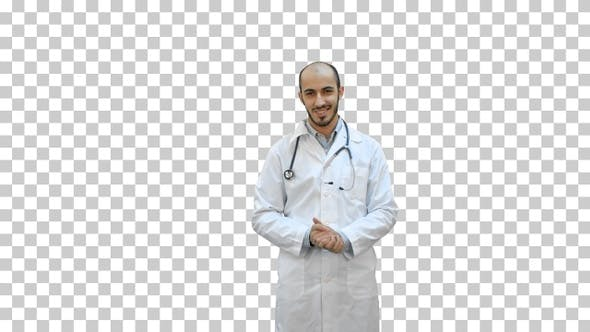 Thumbnail for Smiling doctor talking to the camera, Alpha Channel