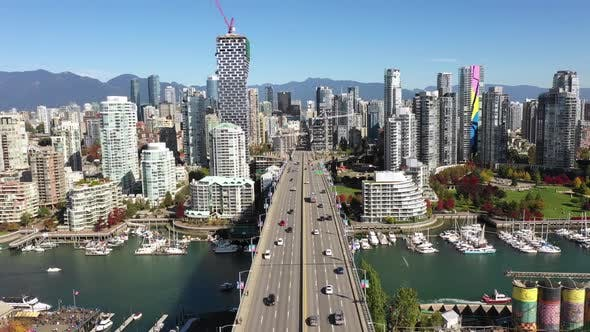 Thumbnail for Aerial Drone Frozen Camera Above Vancouver Downtown Bridge, Canada