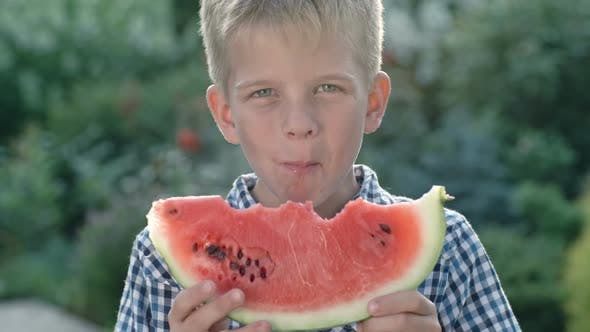 Cover Image for Little Boy Enjoying Watermelon