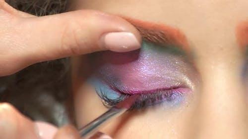 Eyeliner Applying Close Up.