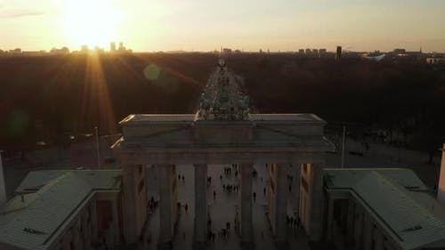 AERIAL: Close Up of Quadriga Green Statue on Brandenburger Tor in Berlin, Germany in Beautiful