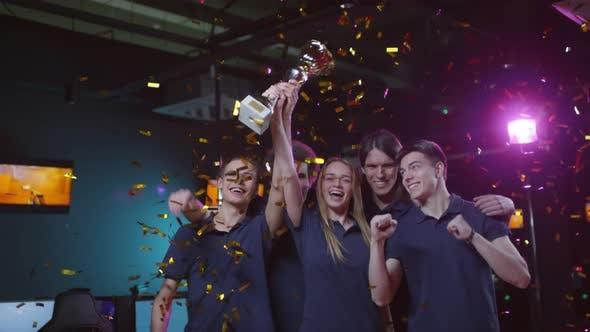Cybersport Team Celebrating Win