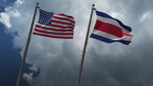 Waving Flags Of The United States And The Costa Rica 4K