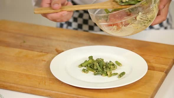 Thumbnail for Cooking Warm Salad with Green Beans and Salami Slices