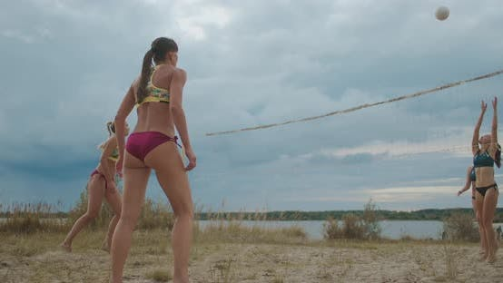 Thumbnail for Sporty Ladies Are Playing Beach Volleyball, Professional Players of Olympic Sport, Training for