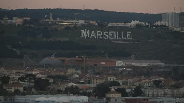Thumbnail for Marseille Cityscape and Sign on Green Hills, France