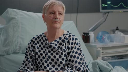 Aged Patient with Disease Recovering After Health Surgery