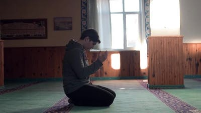 Muslim Man Praying with Hand