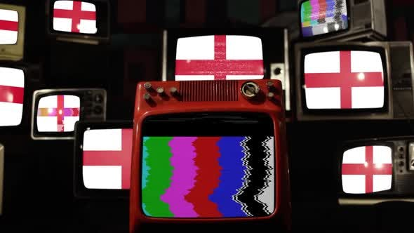 Flag of England and Retro Televisions.