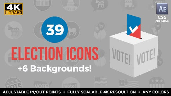 39 Flat USA Election Icons
