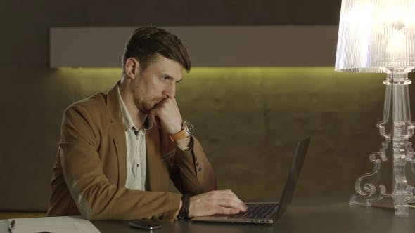 Thumbnail for Businessman Focused On The Screen Of His Laptop Computer.