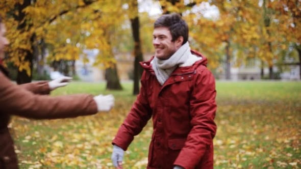 Thumbnail for Happy Young Couple Meeting In Autumn Park 9