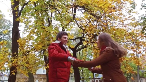 Thumbnail for Happy Young Couple Having Fun In Autumn Park 36