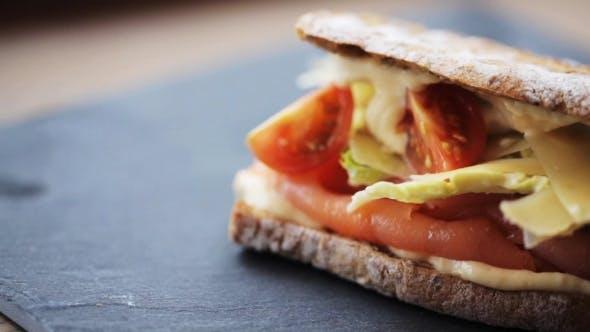 Thumbnail for Salmon Panini Sandwich On Stone Plate 35