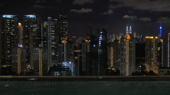 Thumbnail for From Pool on Roof of a Hotel in Kuala Lumpur, Malaysia Seen Night City