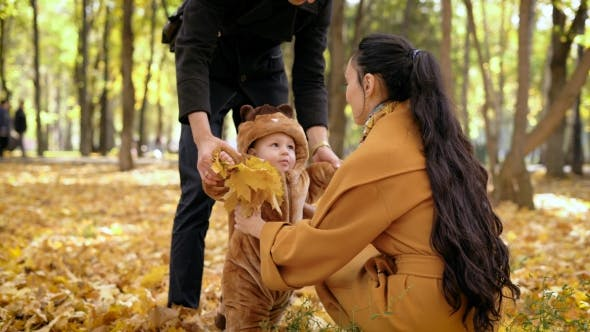 Thumbnail for Child With Dad Walking In The Autumn Forest.