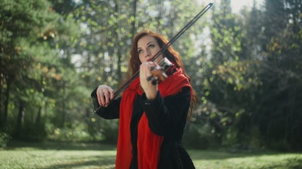 A Musician With a Bright Appearance. Playing The Violin.