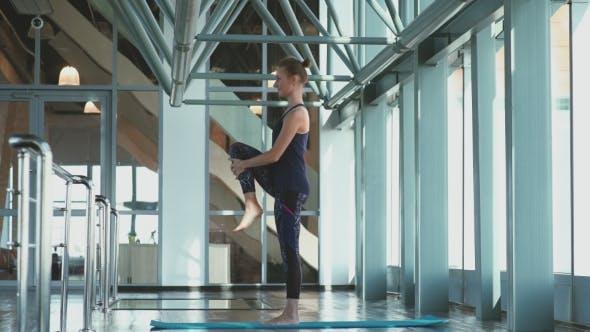 Yoga. Raise Legs Straight. Equilibrium