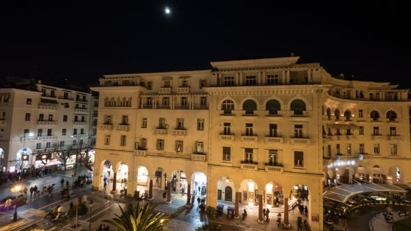 Thumbnail for In Thessaloniki, Greece Seen Panorama Of Evening City With Architectural Buildings, Shops And Area