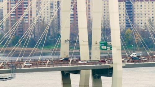 Big Obukhov Bridge In Saint-Petersburg. This Cable-stayed Bridge Across The Neva River, Which