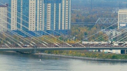 Big Obukhov Bridge In Saint-Petersburg. This Cable-stayed Bridge Across The Neva River