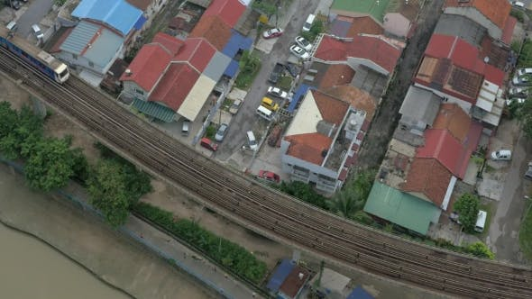 Thumbnail for Bird Eye View Of Poor District And Riding Train On Railways. Kuala Lumpur, Malaysia