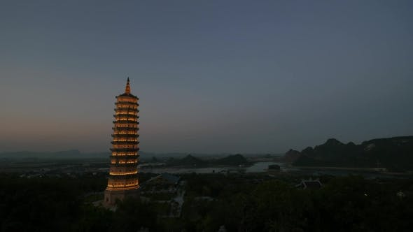 Thumbnail for Shot Of Evening Coming To Bai Dinh Temple, Vietnam