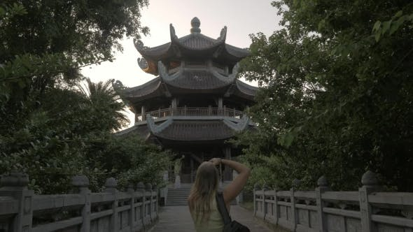 Thumbnail for Tourist Shooting Bell Tower Of Bai Dinh Temple, Vietnam