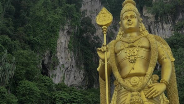 Thumbnail for Murugan Statue Against Limestone Hill. Batu Caves, Malaysia