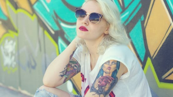 Thumbnail for Trendy Young Woman With a Vampire Tattoo