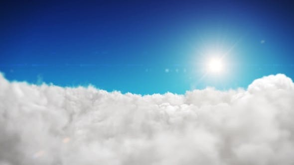 Thumbnail for Animation Blue Sky And Sun Background With White Clouds