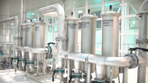 Steel Pipes For Water Supply In The Workplace. Pure Water Plant