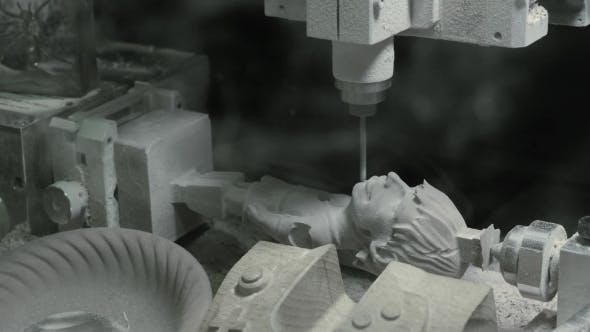 Thumbnail for CNC Milling Machine Creating a Wooden Statue