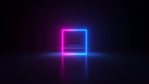 Neon light frames glowing in duotone colors