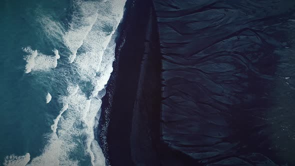 Thumbnail for Aerial view of black sand on Diamond Beach in Iceland.