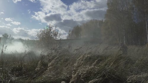 Military Smoke Go Through The Battle. Soldiers Are Attacking Through Smoke Ambush