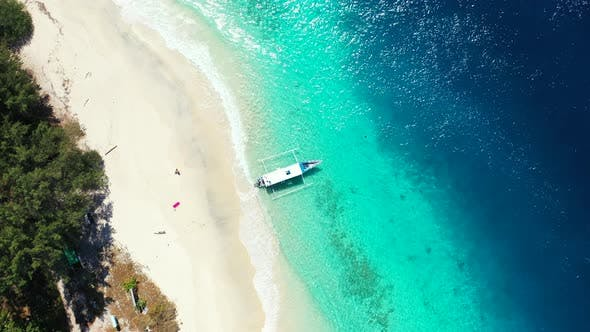 Thumbnail for Beautiful aerial copy space shot of a white sandy paradise beach and aqua blue ocean background