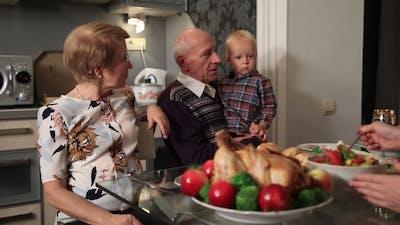 Happy Family Celebrating Thanksgiving Holiday