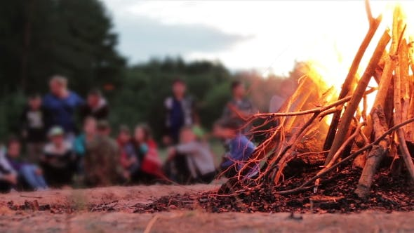 Thumbnail for Campfire Of The Branches Burn At Night In The Forest On The Background Of People
