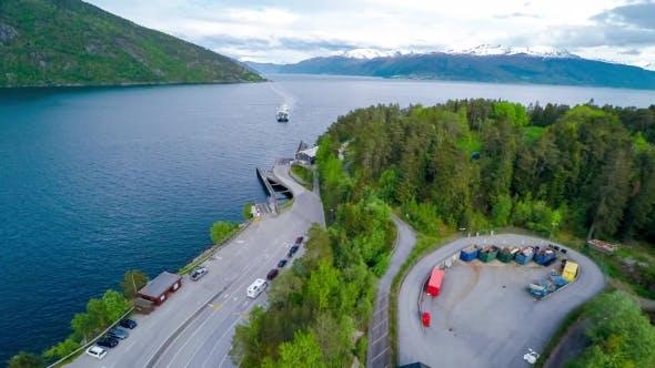 Aerial Footage Beautiful Nature Norway. Ferries' Cross.